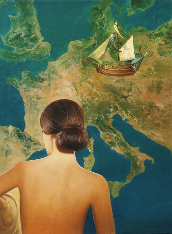 Evropljanka sa juga, ulje na platnu 46 x 38-cm